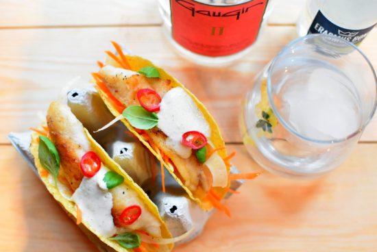 GauGin II - Taco met wortel-venkelsalade en gebakken roodbaars
