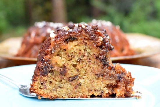 Banaan chocolade cake met gezouten karamel: