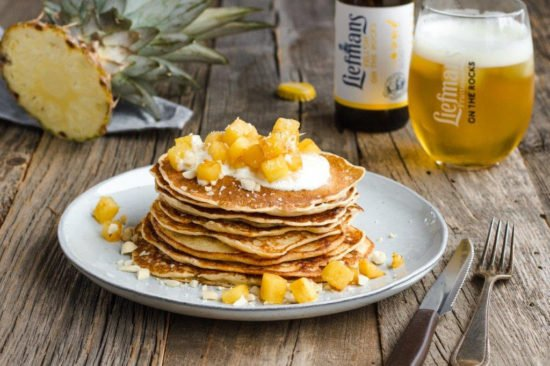 Pancakes met Liefmans Yell'Oh en gekarameliseerde ananas